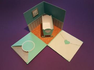 Explosionsbox Wiege  / Baby / Taufe aus Papier 10x10cm