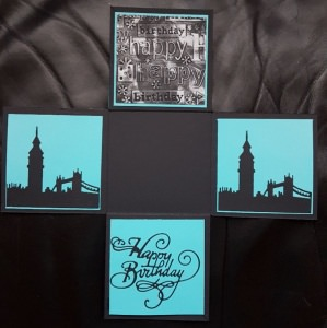 Explosionsbox London aus Papier 10x10cm personalisierbar