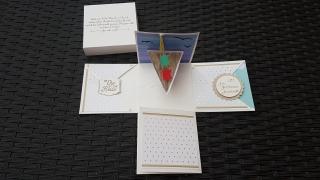 Explosionsbox Kreuzfahrt goldene Hochzeit aus Papier 10x10cm personalisierbar
