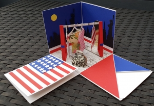 Explosionsbox Shopping in the USA aus Papier 10x10cm