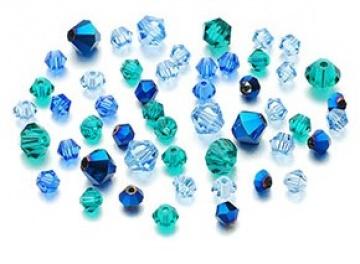 50 Glasschliffperlen Bicone 4-6mm konisch Kegel Mix01 blau petrol