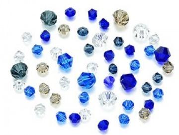 50 Glasschliffperlen Bicone 4-6mm konisch Kegel Mix02 blau kristall graublau champagner