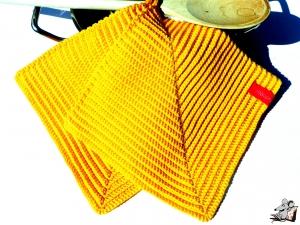 Topflappen gehäkelt (1 Paar) *sonne* 100% Baumwolle ♥Mäusewerkstatt♥ - Handarbeit kaufen