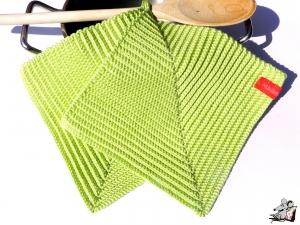 Topflappen gehäkelt (1 Paar) *gelbgrün* 100% Baumwolle ♥Mäusewerkstatt♥  - Handarbeit kaufen