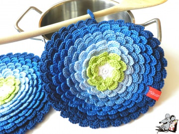 Topflappen *Blume* gehäkelt (1 Paar) *No. 8* 100% Baumwolle ♥Mäusewerkstatt♥