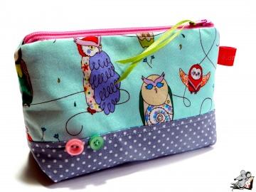 Kosmetiktasche Gr. S *spotted owl* türkis grau ♥Mäusewerkstatt♥