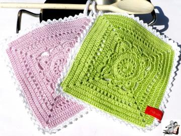 Topflappen gehäkelt (1 Paar) 2-lagig *granny willow* rosa-gelbgrün-weiß (246/392/106) 100% Baumwolle ♥Mäusewerkstatt♥