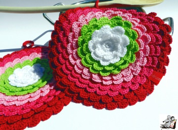 Topflappen *Blume* gehäkelt (1 Paar) No. 13 100% Baumwolle ♥Mäusewerkstatt♥
