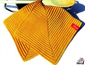 Topflappen gehäkelt (1 Paar) *gold* 100% Baumwolle ♥Mäusewerkstatt♥ - Handarbeit kaufen