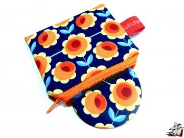 Taschenspiegel-Set *blossoms* blau orange ♥Mäusewerkstatt♥ - Handarbeit kaufen