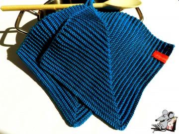 Topflappen gehäkelt (1 Paar) *saphir* 100% Baumwolle ♥Mäusewerkstatt♥