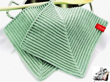 Topflappen gehäkelt (1 Paar) *reseda* 100% Baumwolle ♥Mäusewerkstatt♥