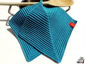 Topflappen gehäkelt (1 Paar) *kachelblau* 100% Baumwolle ♥Mäusewerkstatt♥