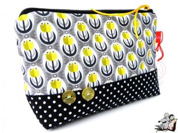 Kosmetiktasche Gr. S *Dutch Love* bulbs grau gelb ♥Mäusewerkstatt♥ - Handarbeit kaufen