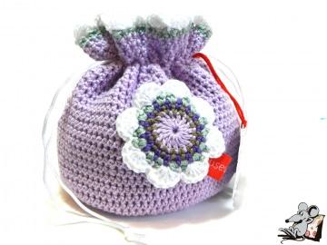 Pompadour-Beutel gehäkelt mit Blüte (226-2) ♥Mäusewerkstatt♥ - Handarbeit kaufen