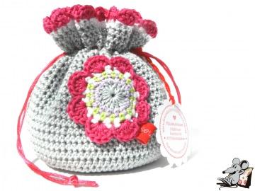 Pompadour-Beutel gehäkelt mit Blüte (172-1) ♥Mäusewerkstatt♥  - Handarbeit kaufen