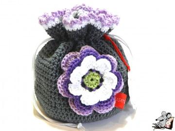 Pompadour-Beutel gehäkelt mit Blüte (242-1) ♥Mäusewerkstatt♥ - Handarbeit kaufen