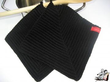 Topflappen gehäkelt (1 Paar) *schwarz* 100% Baumwolle ♥Mäusewerkstatt♥