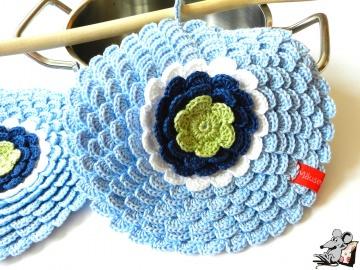 Topflappen *Blume* gehäkelt (1 Paar) No. 9 100% Baumwolle ♥Mäusewerkstatt♥