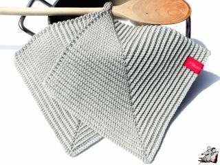 Topflappen gehäkelt (1 Paar) *silber* 100% Baumwolle ♥Mäusewerkstatt♥