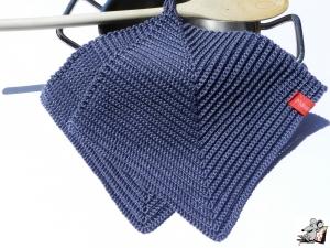 Topflappen gehäkelt (1 Paar) *graublau* 100% Baumwolle ♥Mäusewerkstatt♥