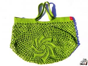 Einkaufsnetz *swirl* Markttasche Einkaufsbeutel Strandtasche *Zero Waste* gehäkelt *apfel* 100% Baumwolle ♥Mäusewerkstatt♥