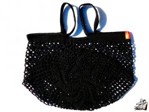 Einkaufsnetz *Stern* Markttasche Einkaufsbeutel Strandtasche *Zero Waste* gehäkelt *schwarz* 100% Baumwolle ♥Mäusewerkstatt♥