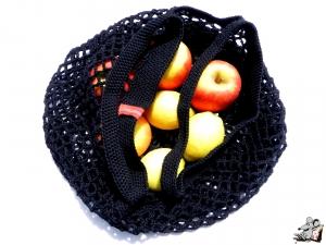 Einkaufsnetz *swirl* Markttasche Einkaufsbeutel Strandtasche *Zero Waste* gehäkelt *schwarz* 100% Baumwolle ♥Mäusewerkstatt♥