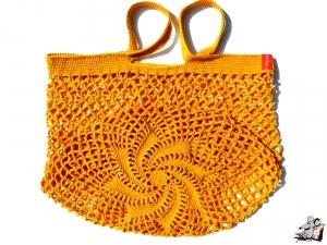 Einkaufsnetz *swirl* Markttasche Einkaufsbeutel Strandtasche *Zero Waste* gehäkelt *gold* 100% Baumwolle ♥Mäusewerkstatt♥