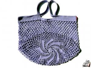 Einkaufsnetz *swirl* Markttasche Einkaufsbeutel Strandtasche *Zero Waste* gehäkelt *lavendel* 100% Baumwolle ♥Mäusewerkstatt♥ - Handarbeit kaufen
