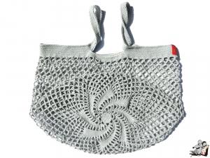 Einkaufsnetz *swirl* Markttasche Einkaufsbeutel Strandtasche *Zero Waste* gehäkelt *silber* 100% Baumwolle ♥Mäusewerkstatt♥