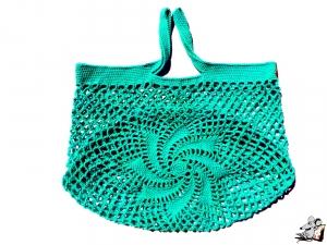 Einkaufsnetz *swirl* Markttasche Einkaufsbeutel Strandtasche *Zero Waste* gehäkelt *jade* 100% Baumwolle ♥Mäusewerkstatt♥