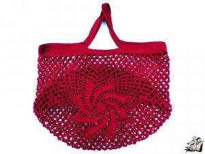 Einkaufsnetz *swirl* Markttasche Einkaufsbeutel Strandtasche *Zero Waste* gehäkelt *weinrot* 100% Baumwolle ♥Mäusewerkstatt♥