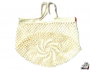 Einkaufsnetz *swirl* Markttasche Einkaufsbeutel Strandtasche *Zero Waste* gehäkelt *creme* 100% Baumwolle ♥Mäusewerkstatt♥