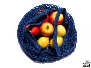 Einkaufsnetz *swirl* Markttasche Einkaufsbeutel Strandtasche *Zero Waste* gehäkelt *jeans* 100% Baumwolle ♥Mäusewerkstatt♥