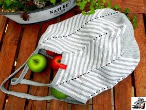 Markttasche Einkaufsbeutel Strandtasche *Zero Waste* gehäkelt *chevron silber-weiß* 100% Baumwolle ♥Mäusewerkstatt♥