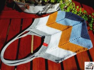 Markttasche Einkaufsbeutel Strandtasche *Zero Waste* gehäkelt *stripes no. 1* 100% Baumwolle ♥Mäusewerkstatt♥