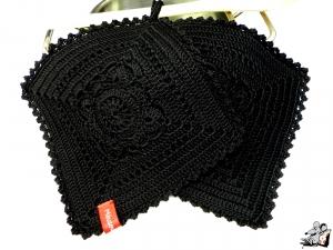 Topflappen gehäkelt (1 Paar) 2-lagig *granny willow* schwarz 100% Baumwolle ♥Mäusewerkstatt♥