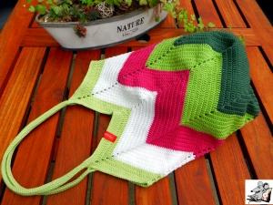 Markttasche Einkaufsbeutel Strandtasche *Zero Waste* gehäkelt *stripes no. 2* 100% Baumwolle ♥Mäusewerkstatt♥