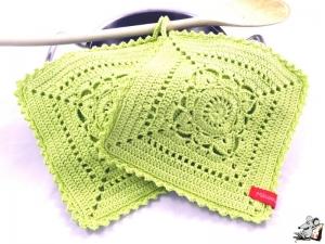 Topflappen gehäkelt (1 Paar) 2-lagig *granny willow* gelbgrün 100% Baumwolle ♥Mäusewerkstatt♥ - Handarbeit kaufen