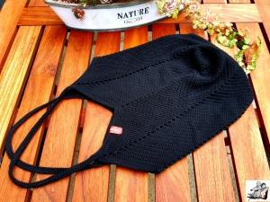Markttasche Einkaufsbeutel Strandtasche *Zero Waste* gehäkelt *schwarz* 100% Baumwolle ♥Mäusewerkstatt♥