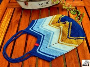 Markttasche Einkaufsbeutel Strandtasche *Zero Waste* gehäkelt *stripes no. 3* 100% Baumwolle ♥Mäusewerkstatt♥