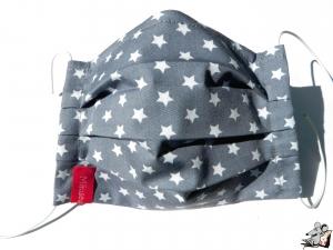 Behelfsmaske mit biegsamen Nasenteil waschbar 100% Baumwolle Gesichtsmaske *Sternchen* hellgrau ♥Mäusewerkstatt♥