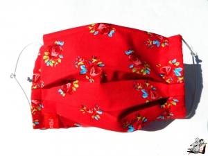 Behelfsmaske mit biegsamen Nasenteil waschbar 100% Baumwolle Gesichtsmaske *Röschen* rot ♥Mäusewerkstatt♥ - Handarbeit kaufen