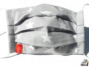 Behelfsmaske mit biegsamen Nasenteil waschbar 100% Baumwolle Gesichtsmaske *Sterne* hellgrau ♥Mäusewerkstatt♥