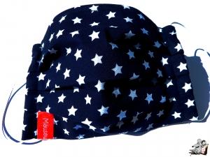Behelfsmaske mit biegsamen Nasenteil waschbar 100% Baumwolle Gesichtsmaske *Sternchen* dunkelblau ♥Mäusewerkstatt♥ - Handarbeit kaufen