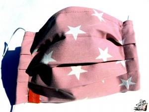 Behelfsmaske mit biegsamen Nasenteil waschbar 100% Baumwolle Gesichtsmaske *Sterne* altrosa ♥Mäusewerkstatt♥ - Handarbeit kaufen
