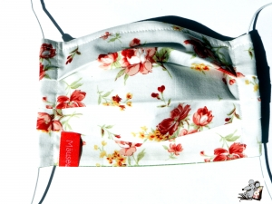 Behelfsmaske mit biegsamen Nasenteil waschbar 100% Baumwolle Gesichtsmaske *Blüten* creme ♥Mäusewerkstatt♥