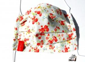 Behelfsmaske mit biegsamen Nasenteil waschbar 100% Baumwolle Gesichtsmaske *Streublümchen* koralle ♥Mäusewerkstatt♥ - Handarbeit kaufen