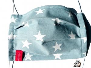 Behelfsmaske mit biegsamen Nasenteil waschbar 100% Baumwolle Gesichtsmaske *Sterne* blaugrau ♥Mäusewerkstatt♥